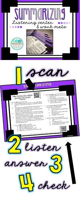 listening center, QR listening center, listening center response sheet, listening standards, free listening center,